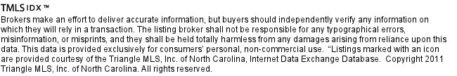 Raleigh Durham IDX Disclaimer